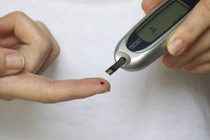 Diabetes patient checking insulin level